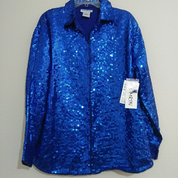 Simrin Tops - New Blue Sequin Flashy Party Blouse 1X